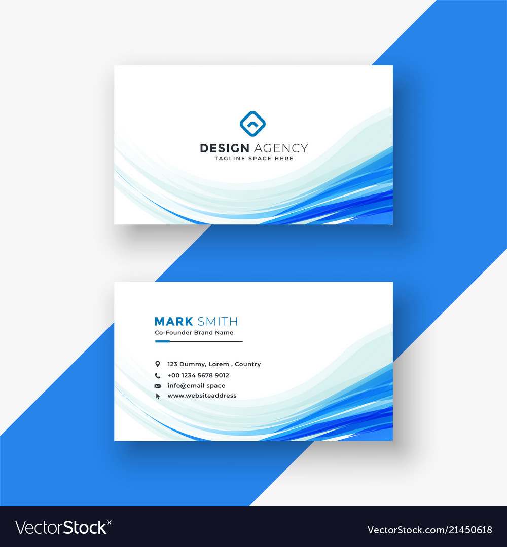 Elegant white business card with blue wave Vector Image