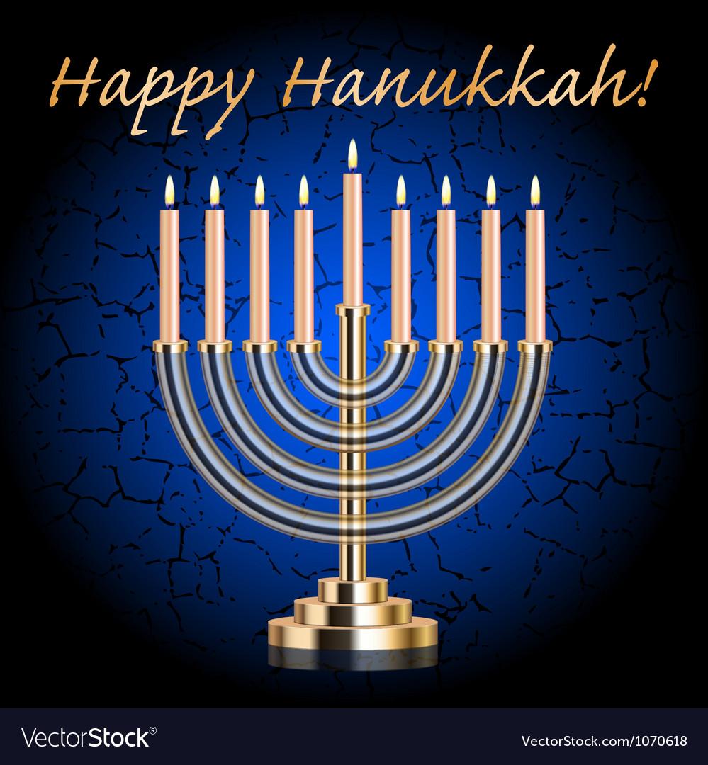 Happy Hanukkah blue wish card vector image