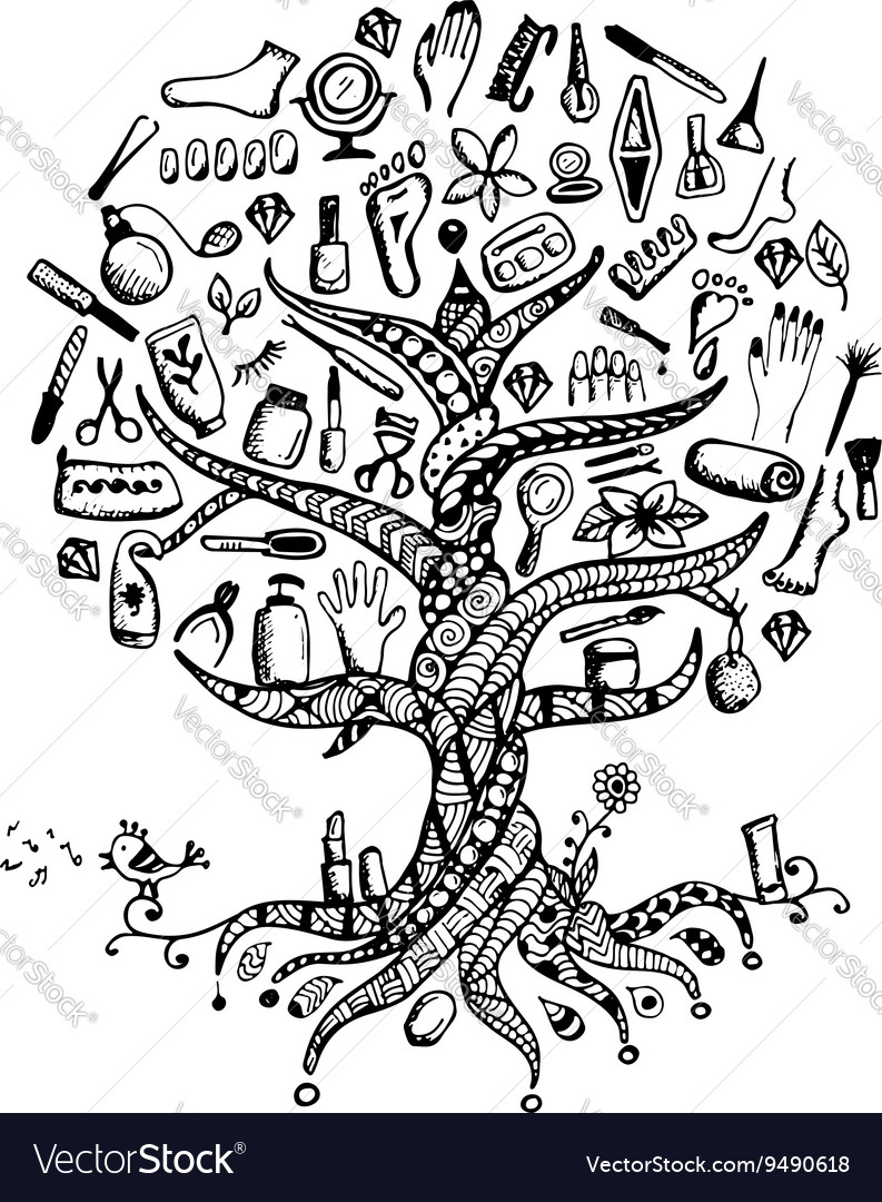 Manicure and pedicure Tree concept sketch for