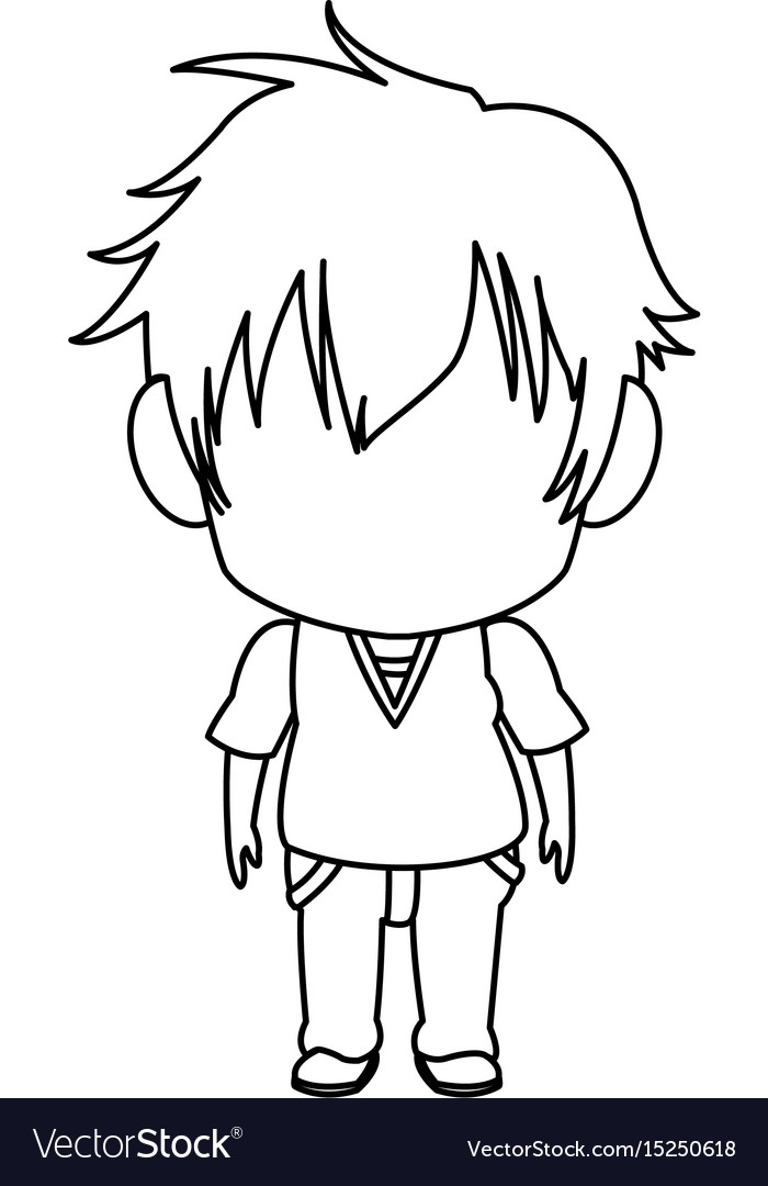 Outlined little boy anime hair style stand