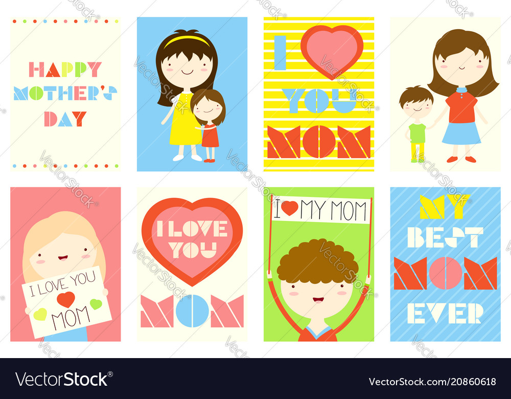 Set of happy mothers day greeting cards vector image