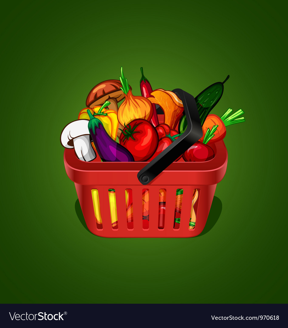 Shopping basket with bunch of vegetables
