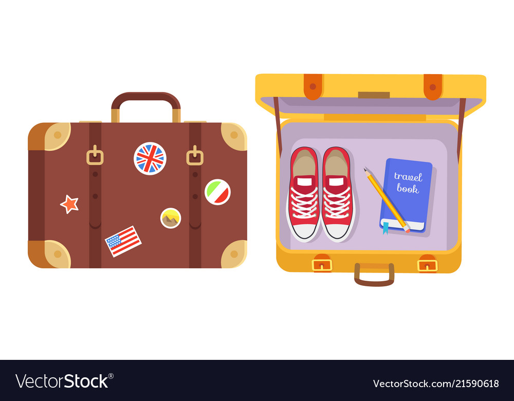 Suitcases set traveler s equipment color poster