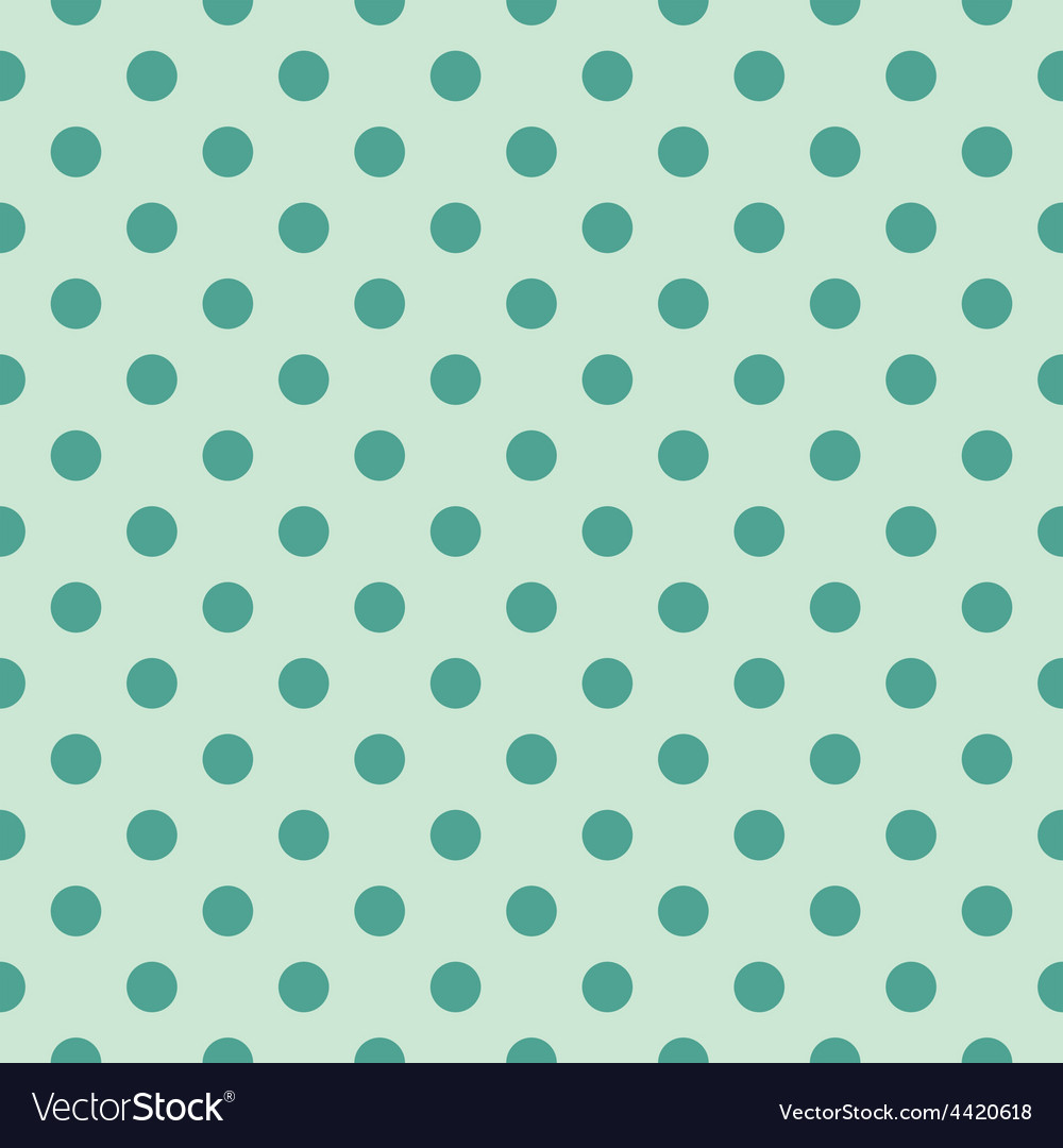 Tile pattern green polka dots on mint background vector image