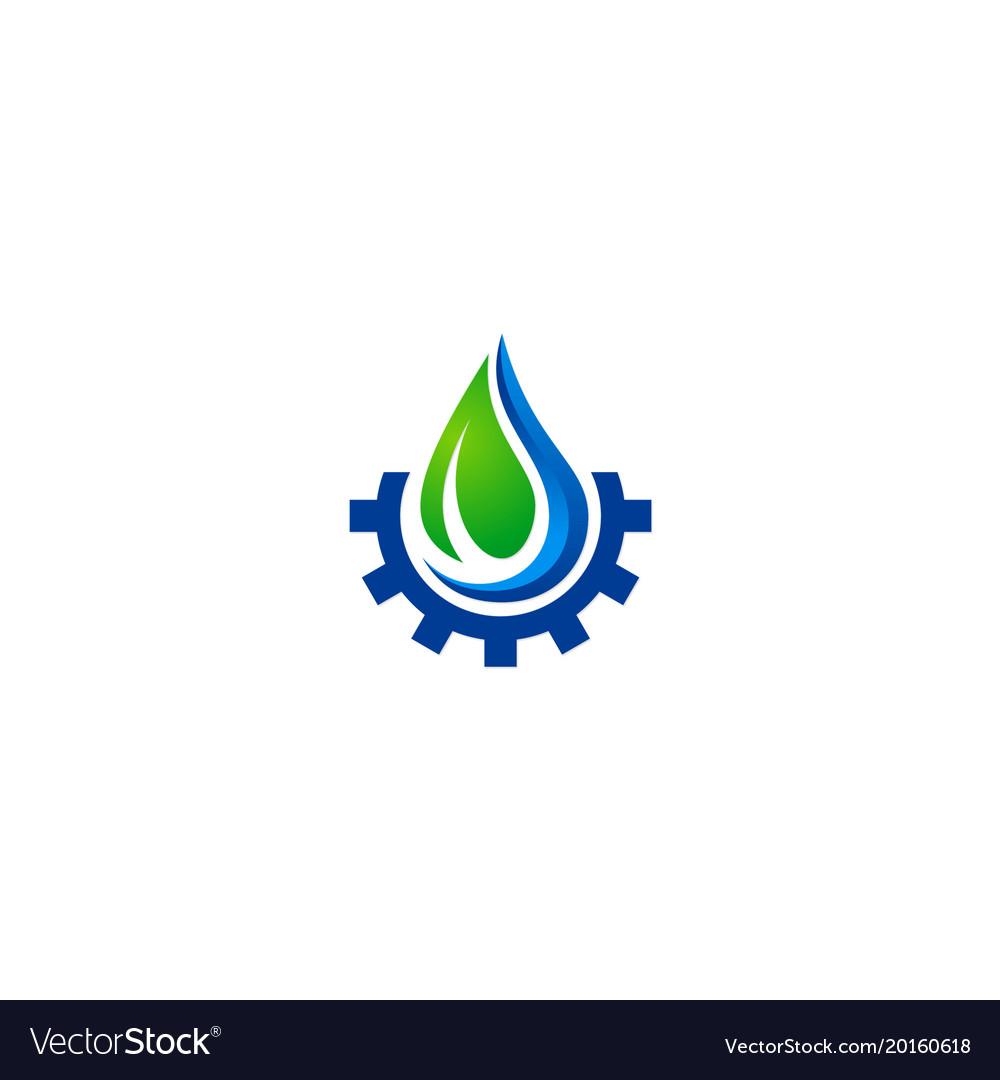Water drop ecology gear nature logo