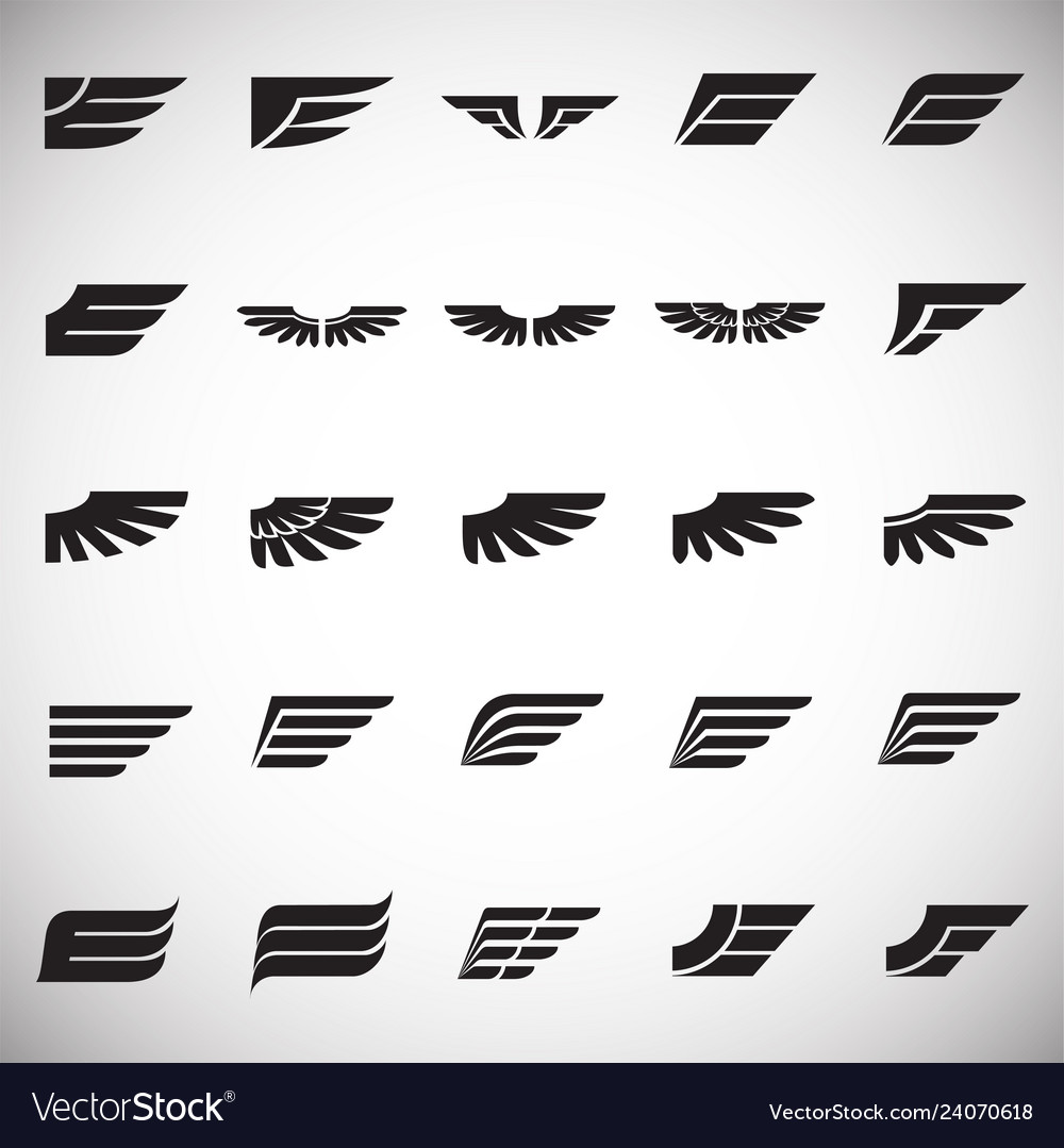Wings icons set on white background for graphic