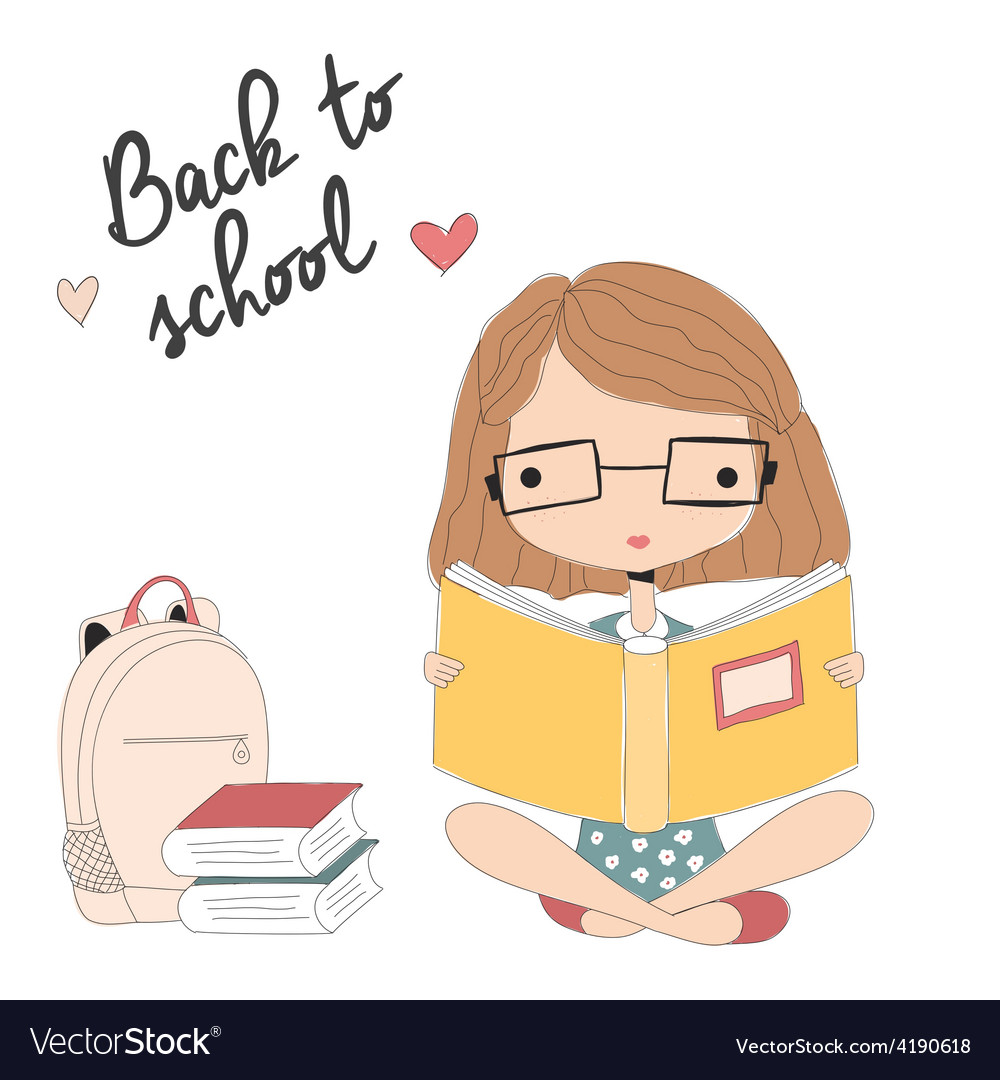 Young girl with glasses reading a book school