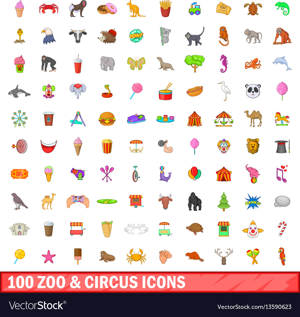 100 zoo and circus icons set cartoon style