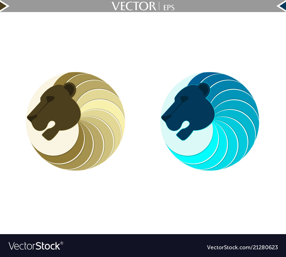 Abstract lion set logo
