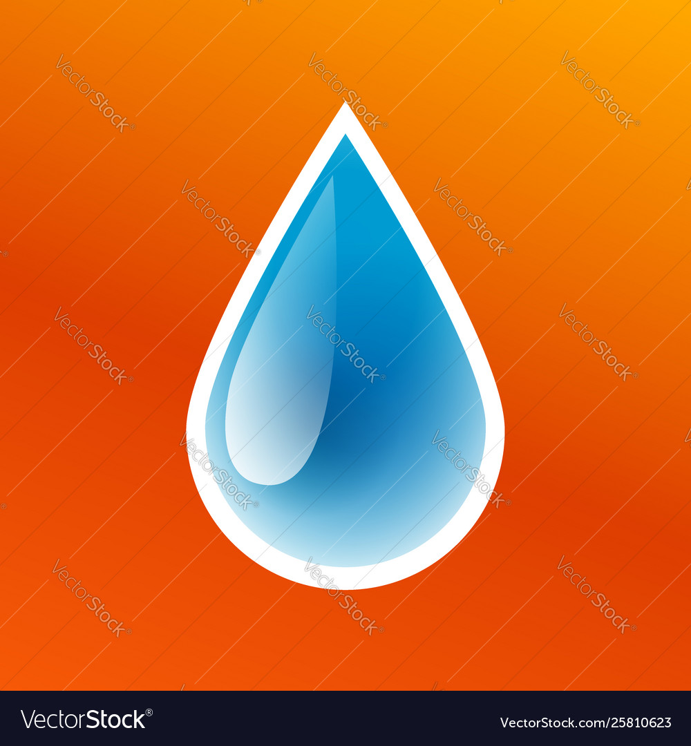 Blue drop clean pure water icon isolated