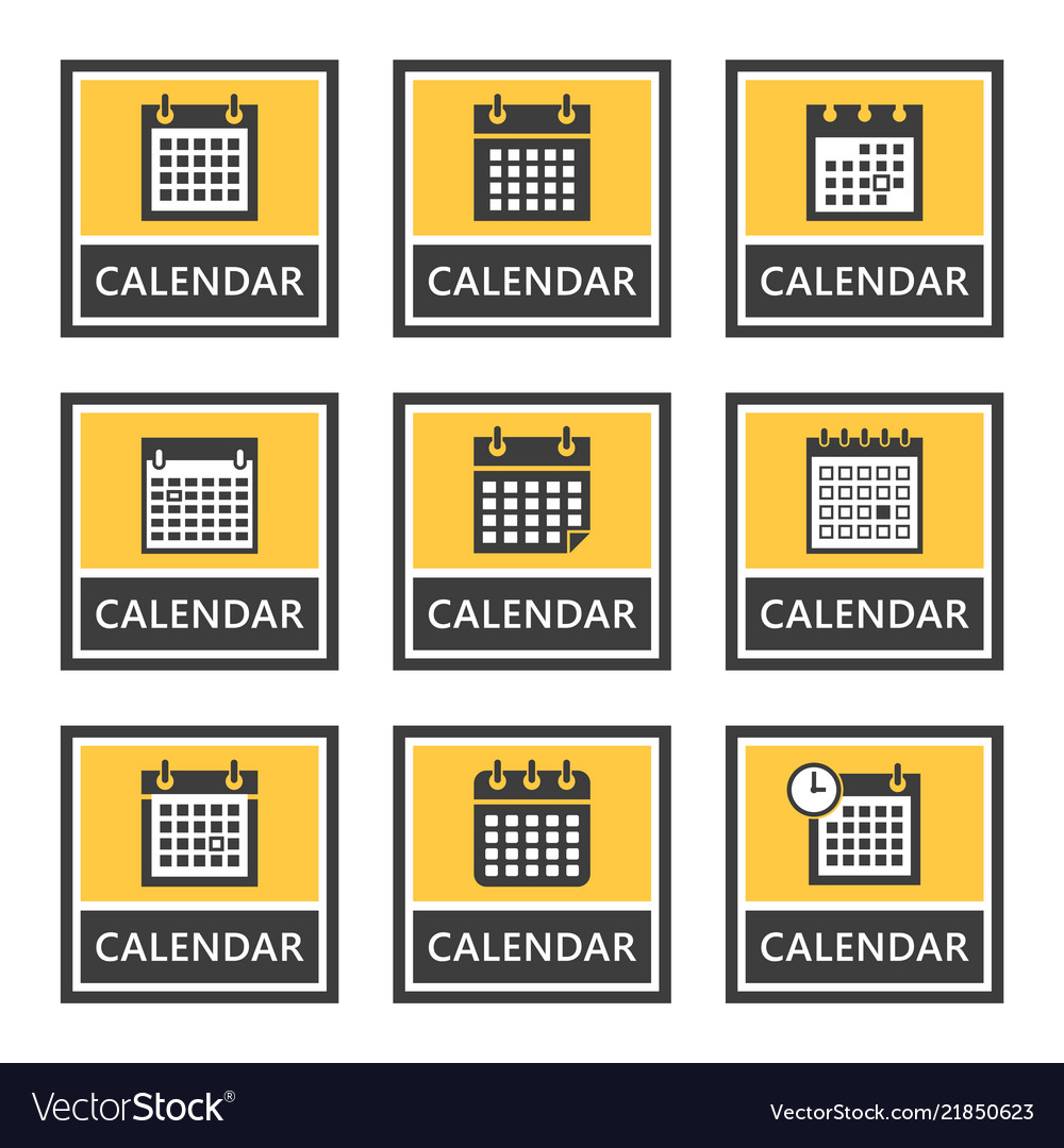 Calendar signs and icons set in
