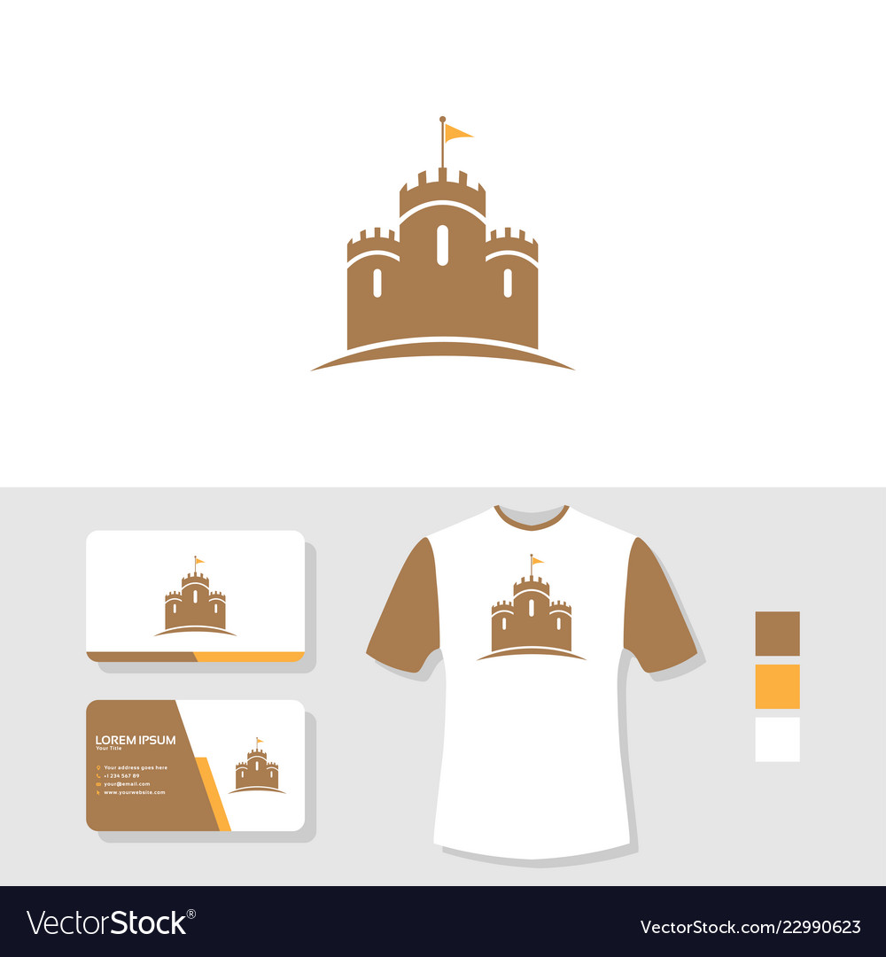 Castle logo design with business card and t shirt