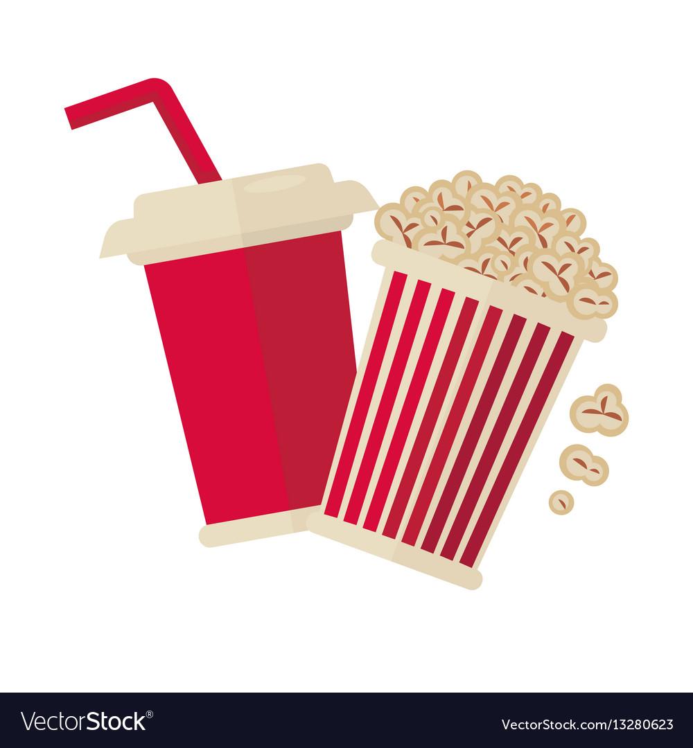 Cinema popcorn and soda drink for movie vector image