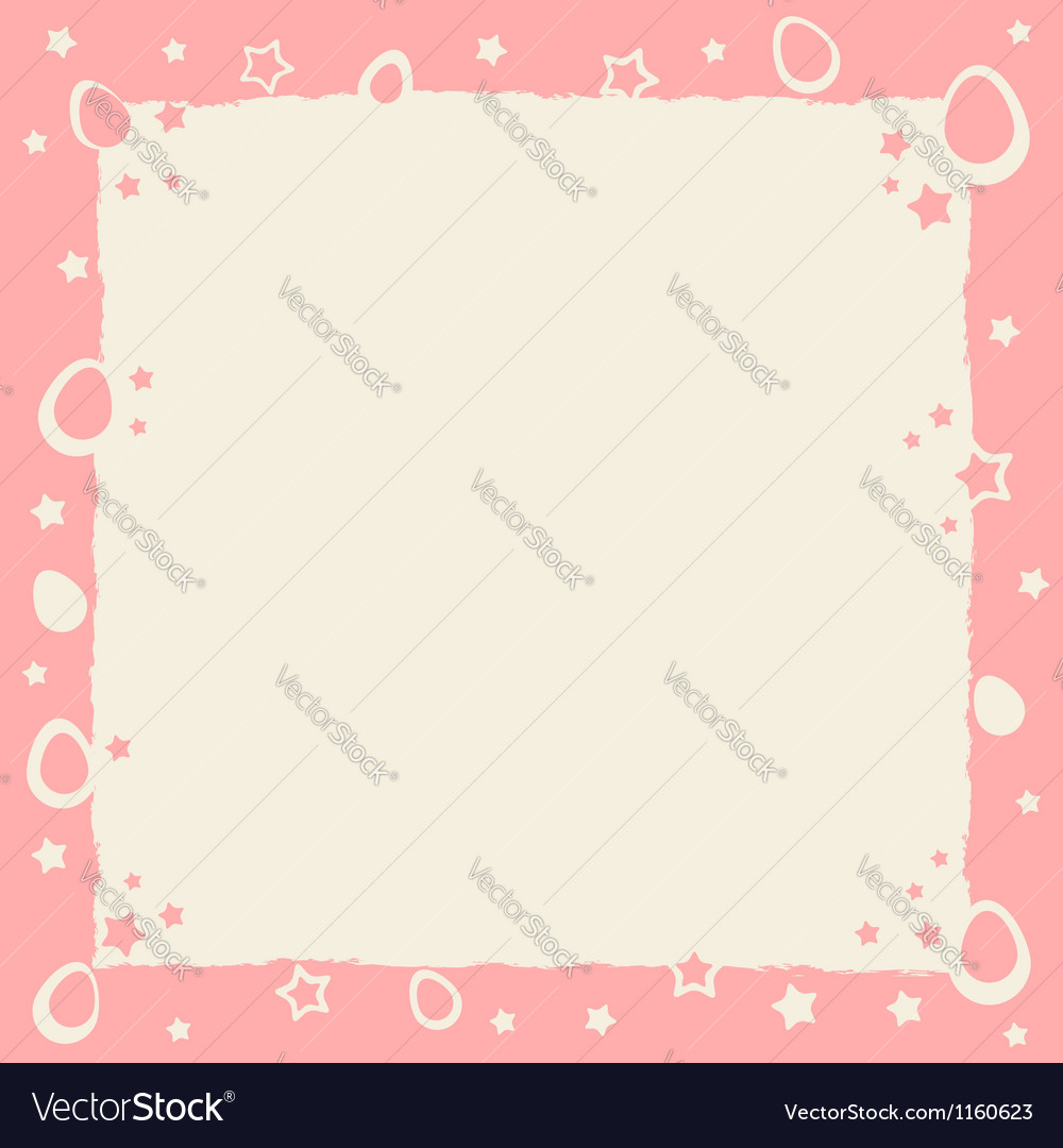Easter eggs colorful frame with grunge borders vector image