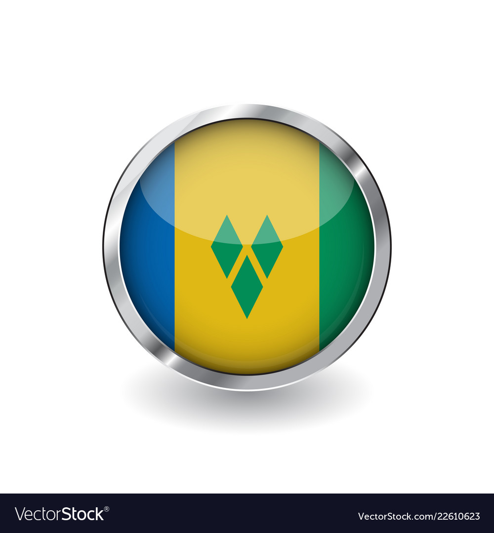 Flag of saint vincent and the grenadines button