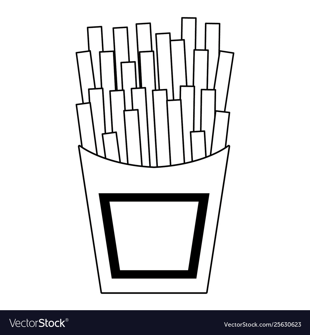 French Fries Fast Food Cartoon Isolated In Black Vector Image