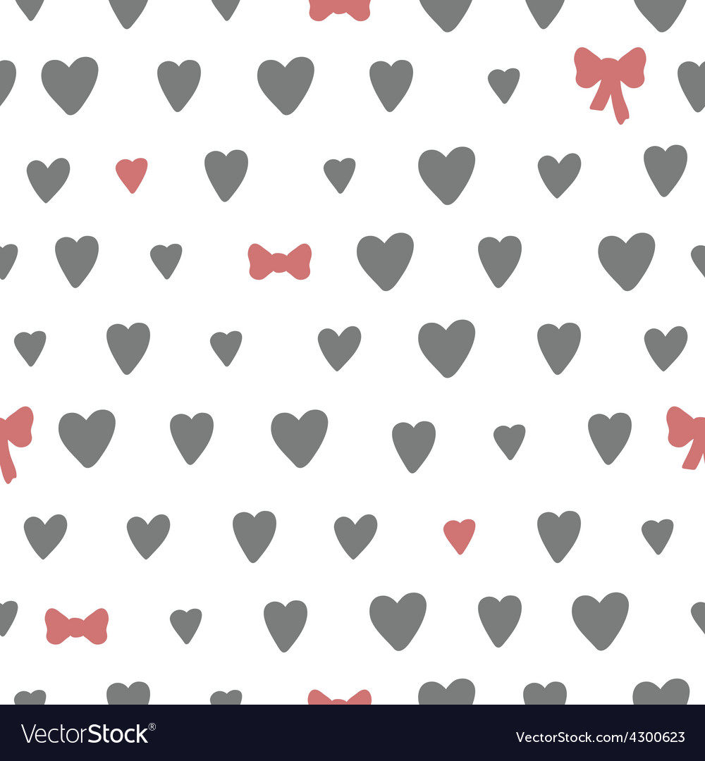 Hand drawn seamless pattern with hearts and bows