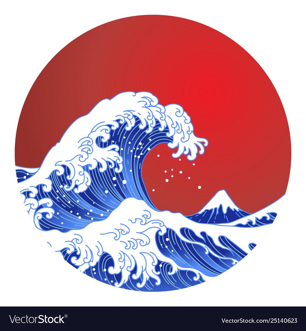 Japan oriental great wave in sun shape