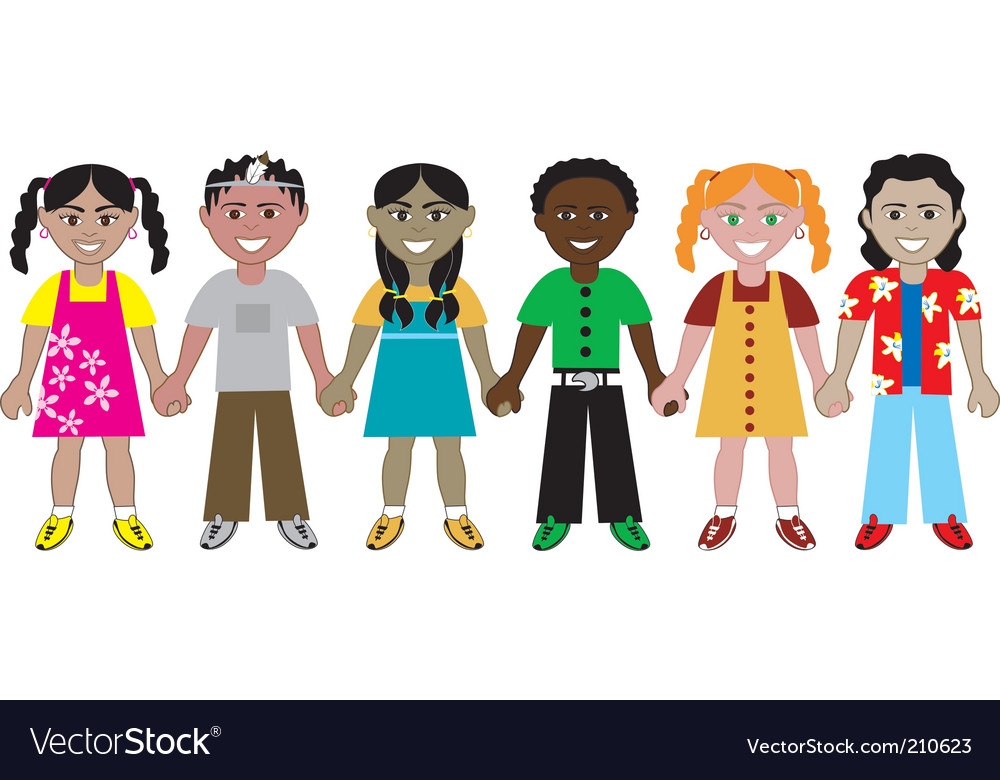 Kids hold hands vector image