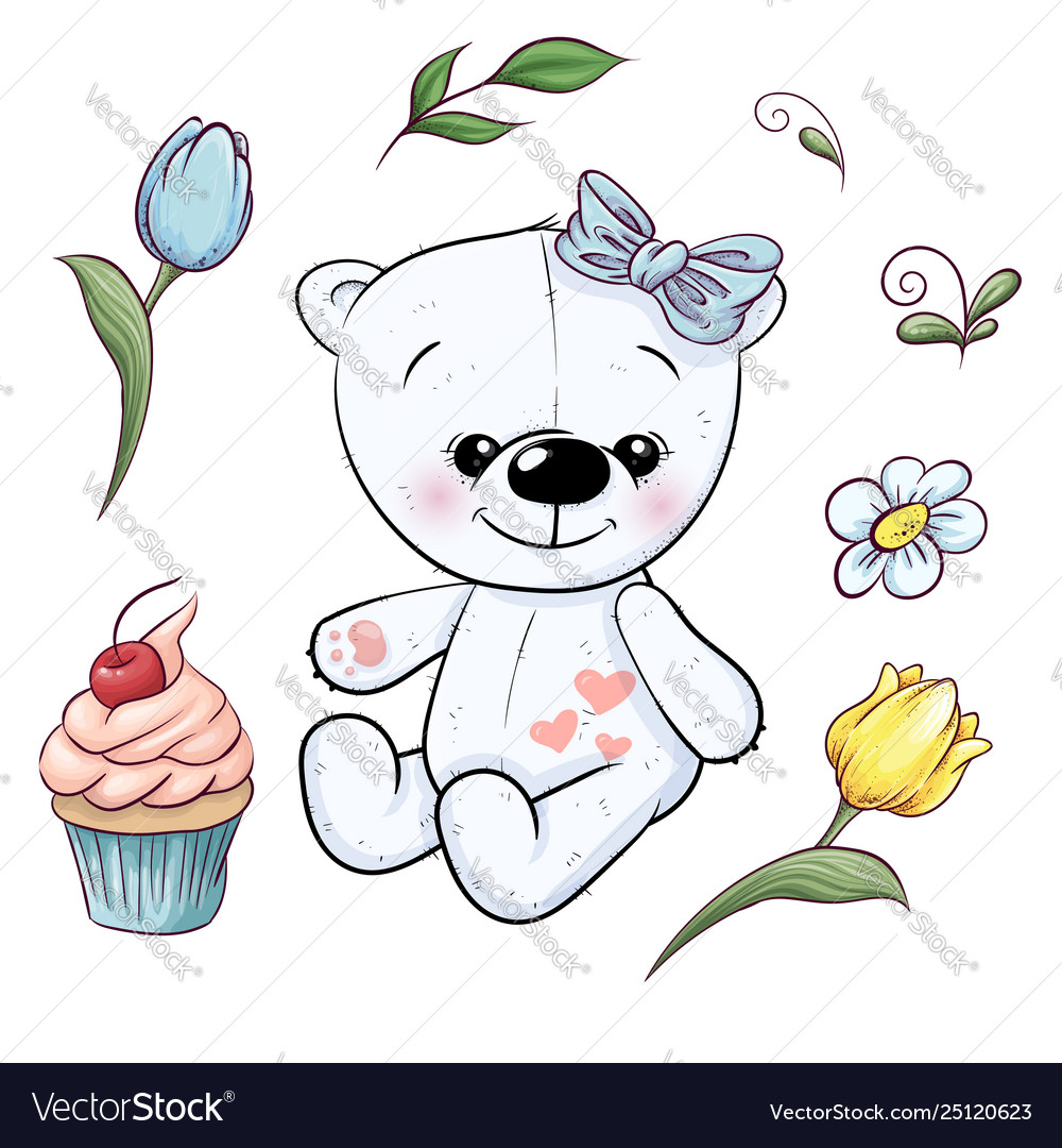 Set little white teddy bear and flowers hand