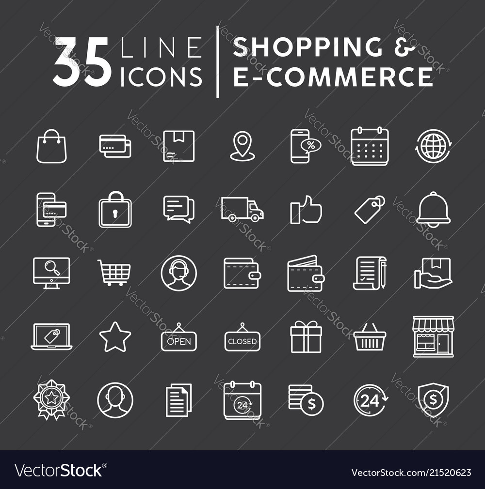 Set of online shopping modern flat thin ico