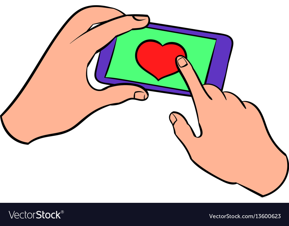 Smartphone in hands with heart on screen icon