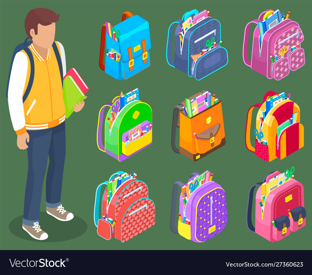 Standing boy with books backpacks with stationery