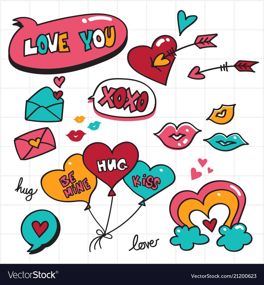 Valentine doodle love bubble speech and romantic