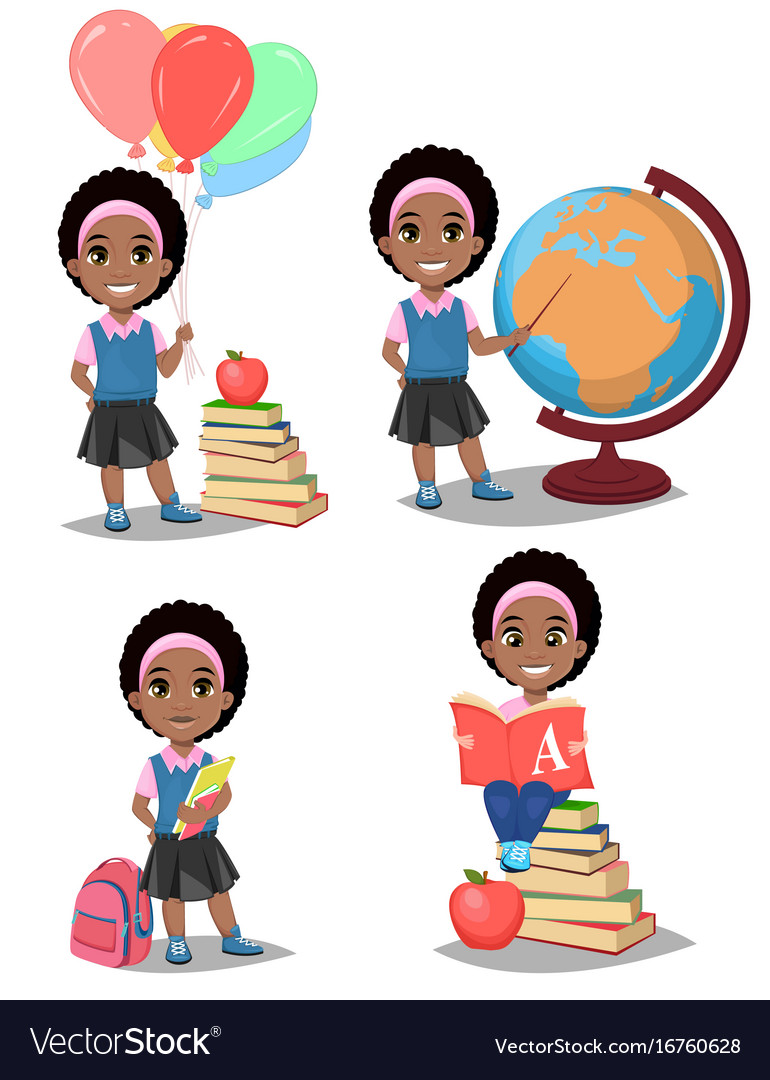 Back to school cute afro-american girl is ready