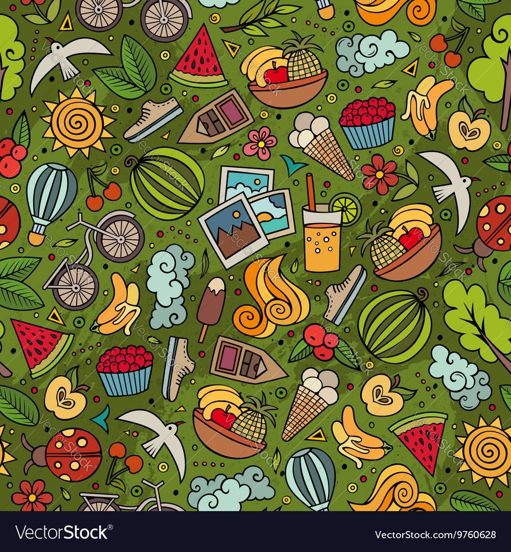 Cartoon summer time seamless pattern
