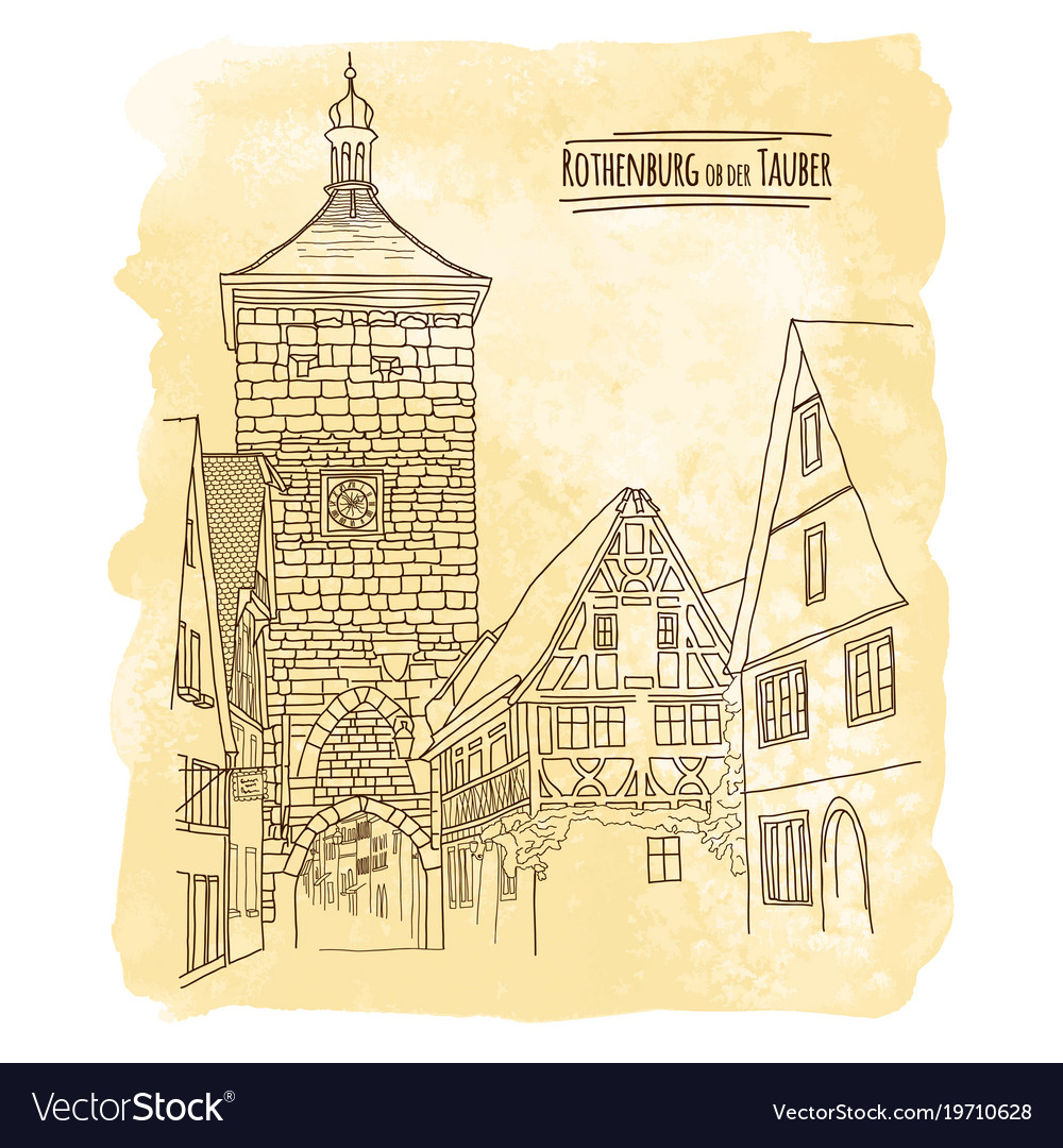 City sketching on vintage watercolor