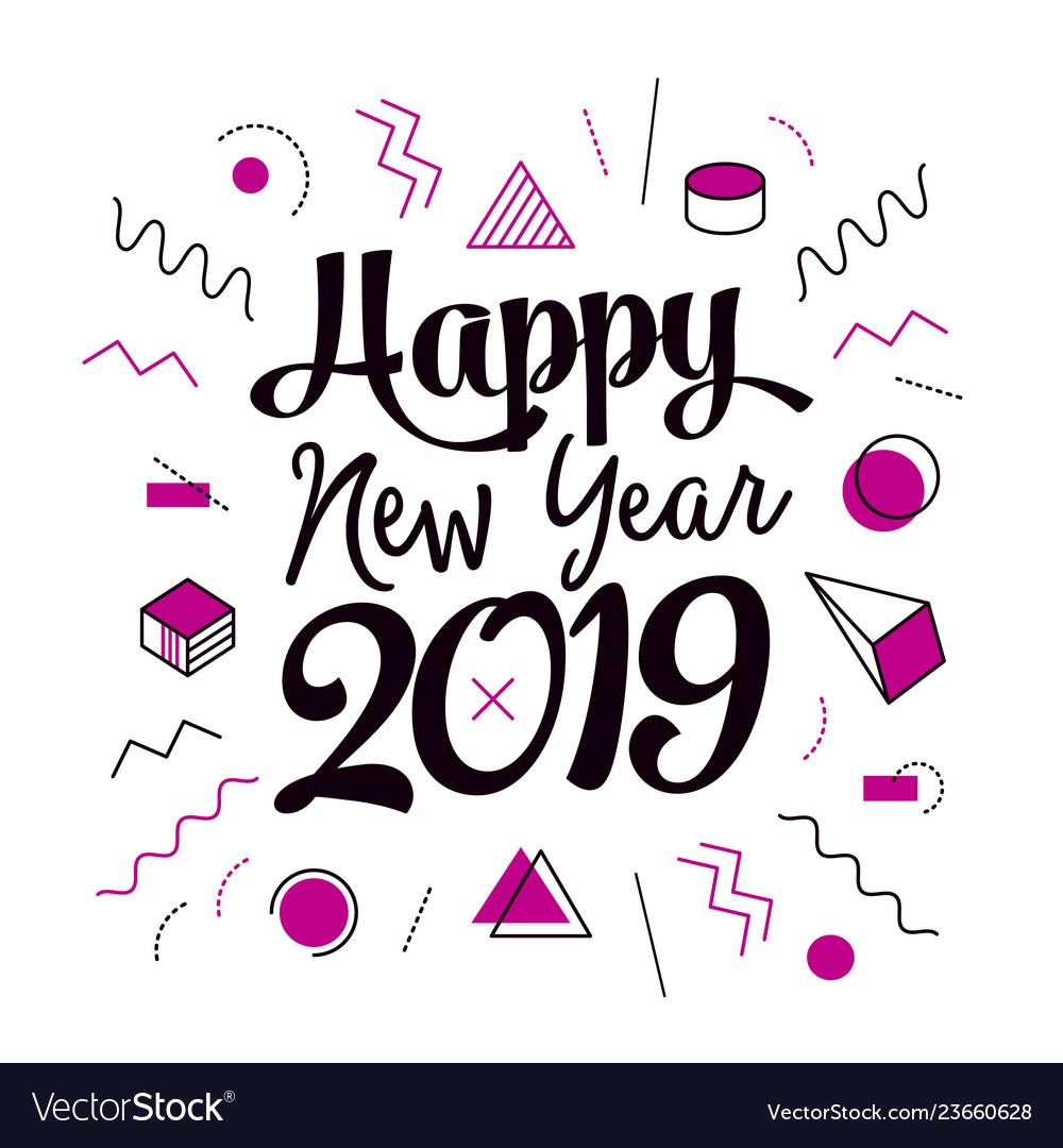 Creative happy new year 2019 memphis design