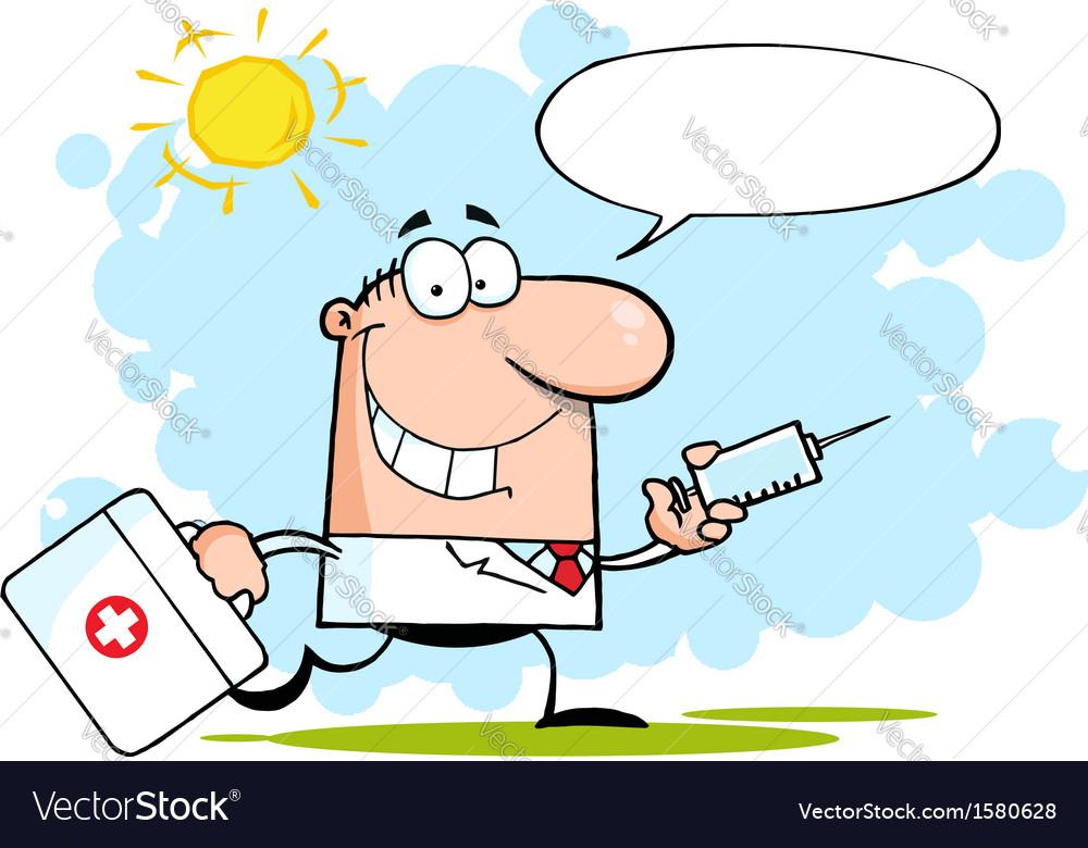 Doctor with needle cartoon vector image