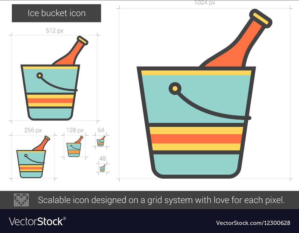 Ice bucket line icon