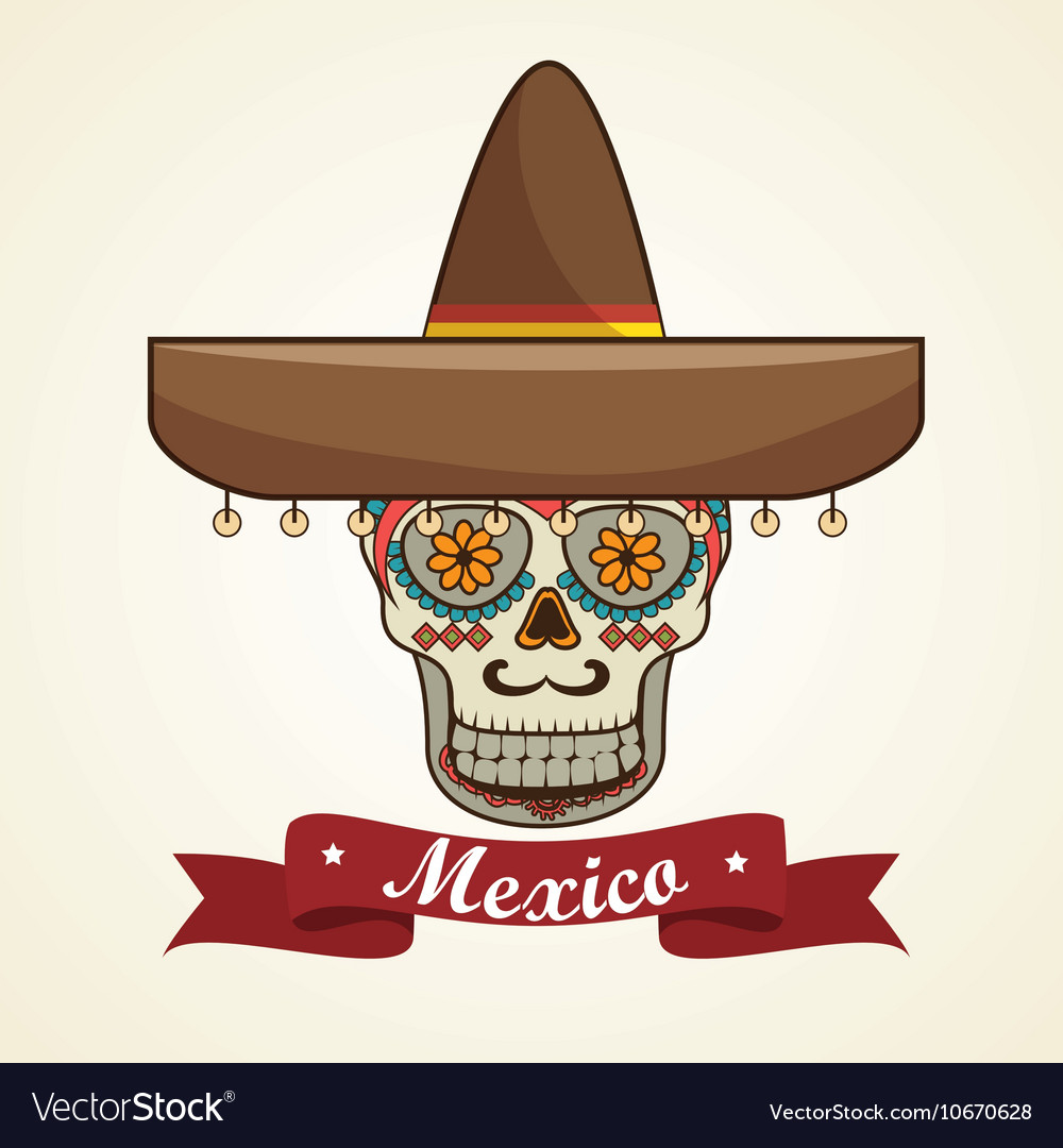 Icon day of the dead mexican design isolated