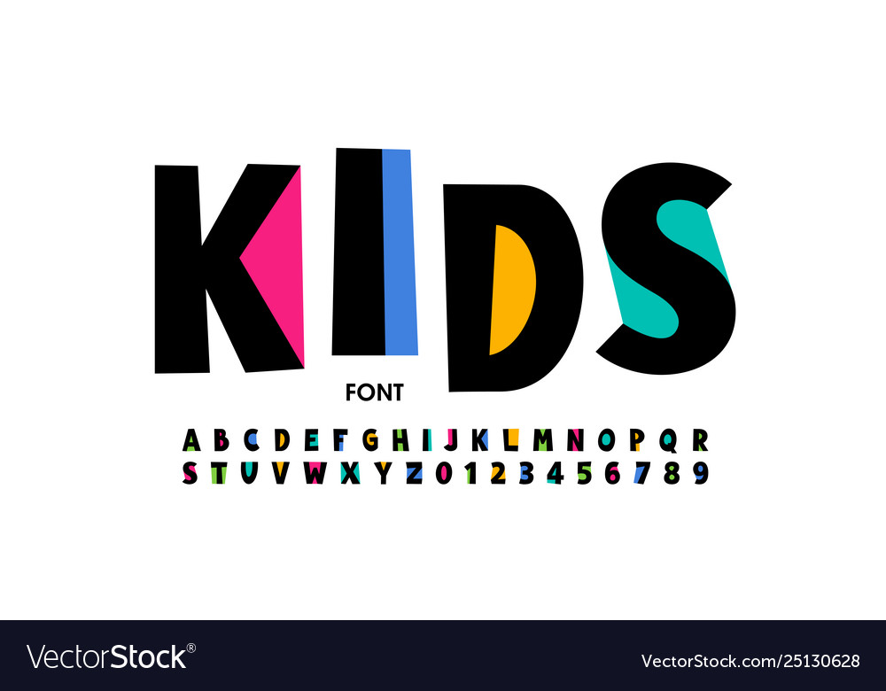 Kids style font design playful alphabet letters