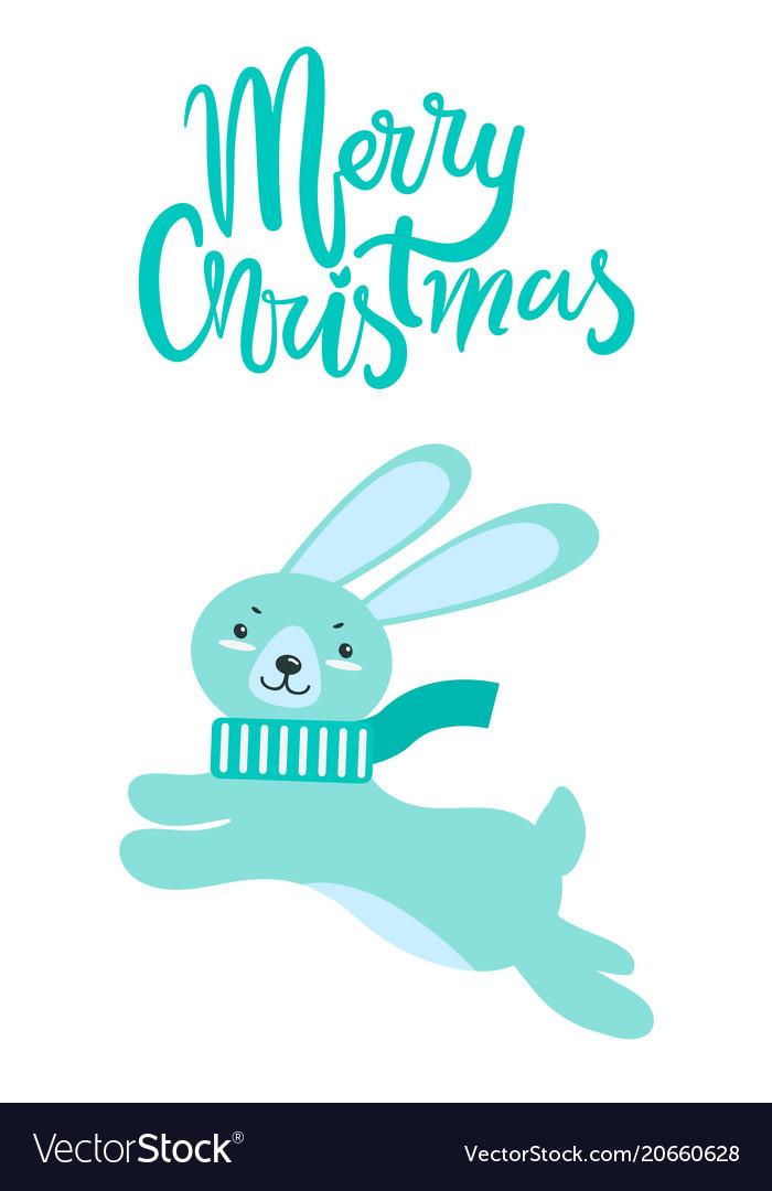 Merry christmas greeting card rabbit long ears