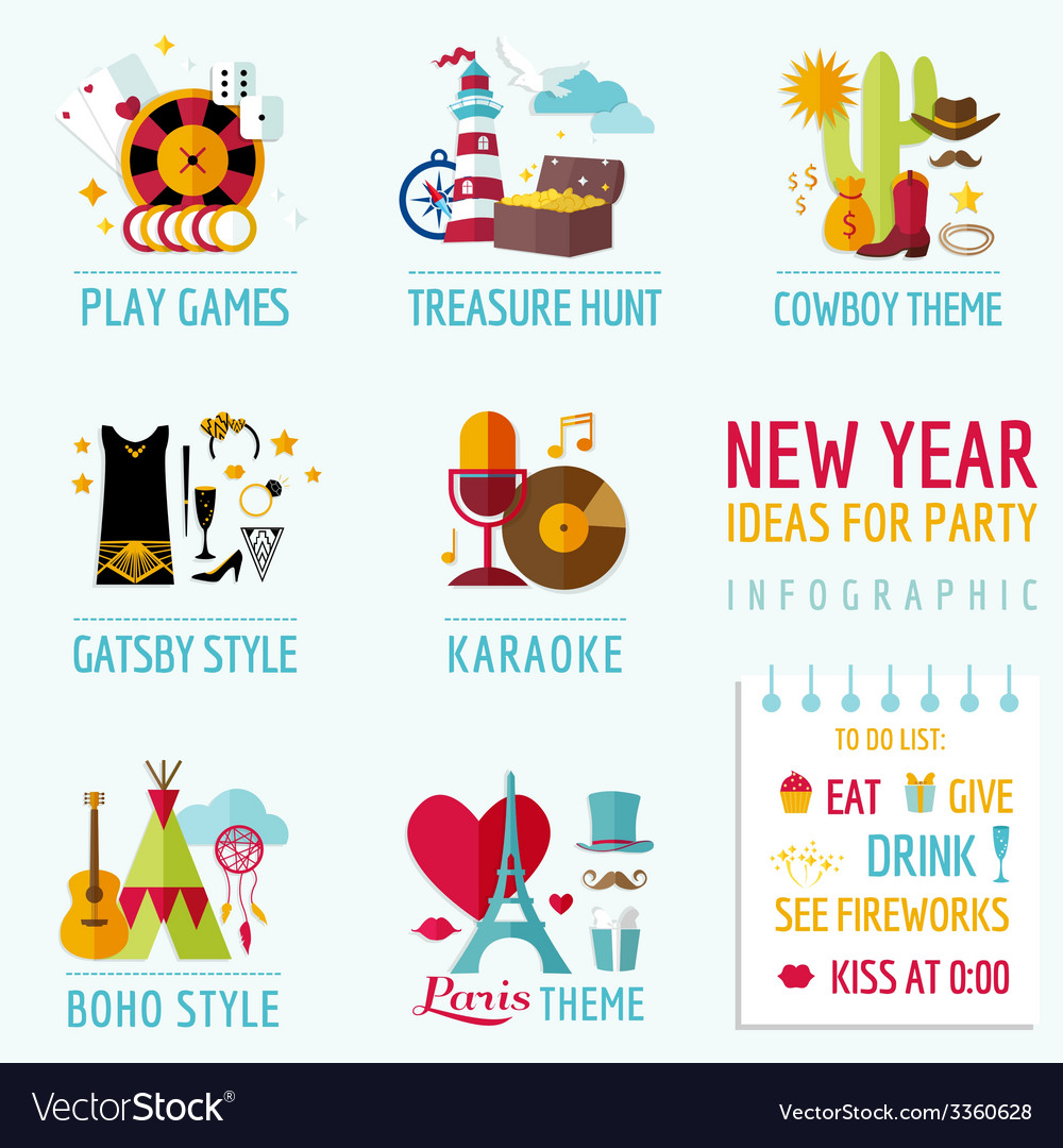 New Year Infographic Party Ideas And Themes Vector Image