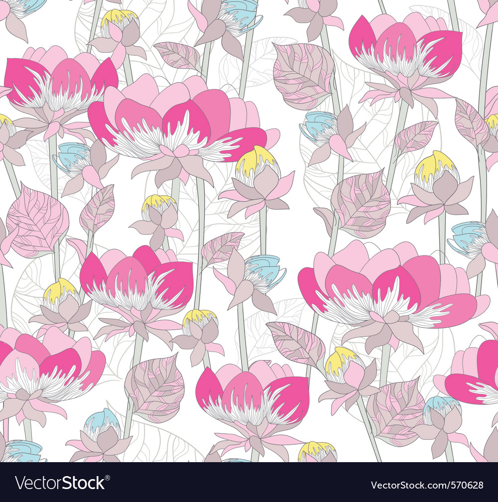 Seamless pink flowers pattern vector image
