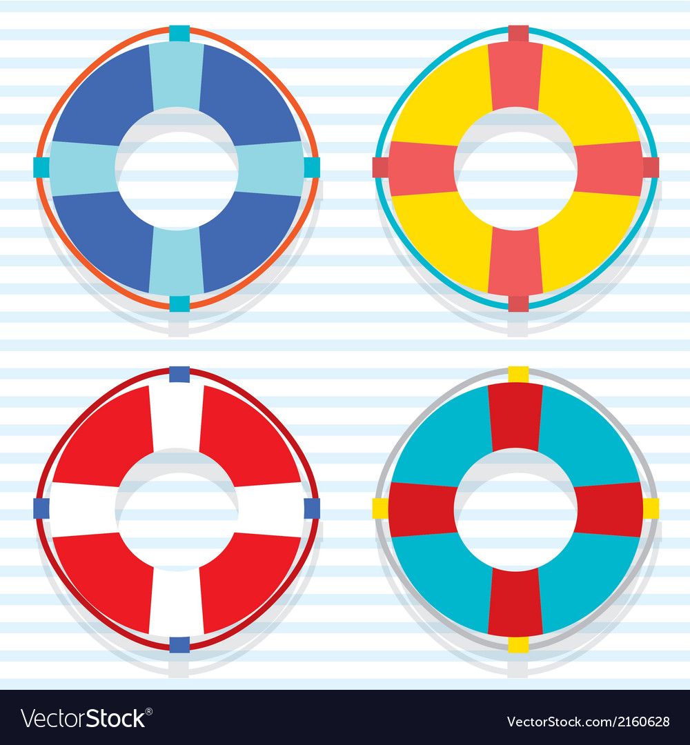 Set Of Colorful Lifebuoy