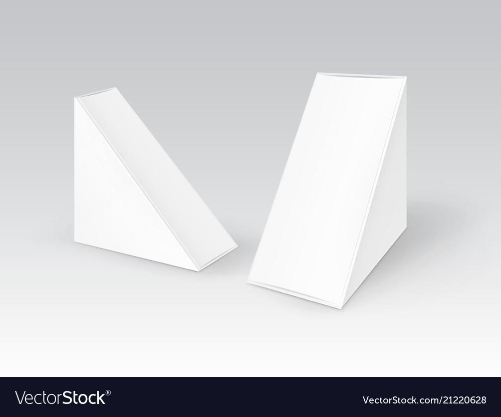 Set of white blank cardboard triangle take