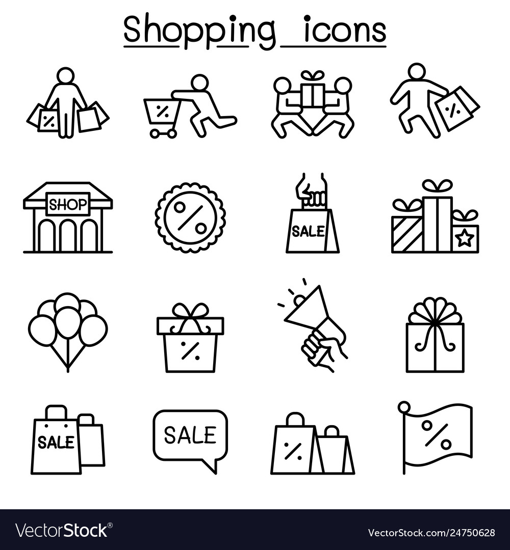 Shopping black friday cyber monday icon set in