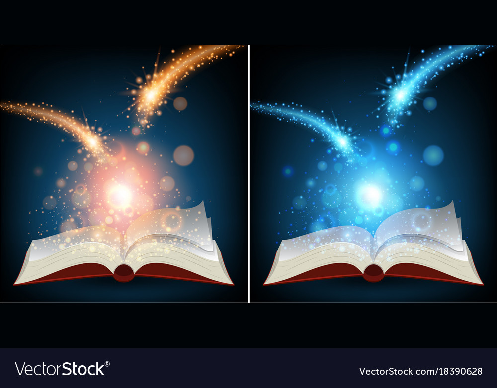 Bright Light Books Unique Two Books With Bright Light Royalty Free Vector Image