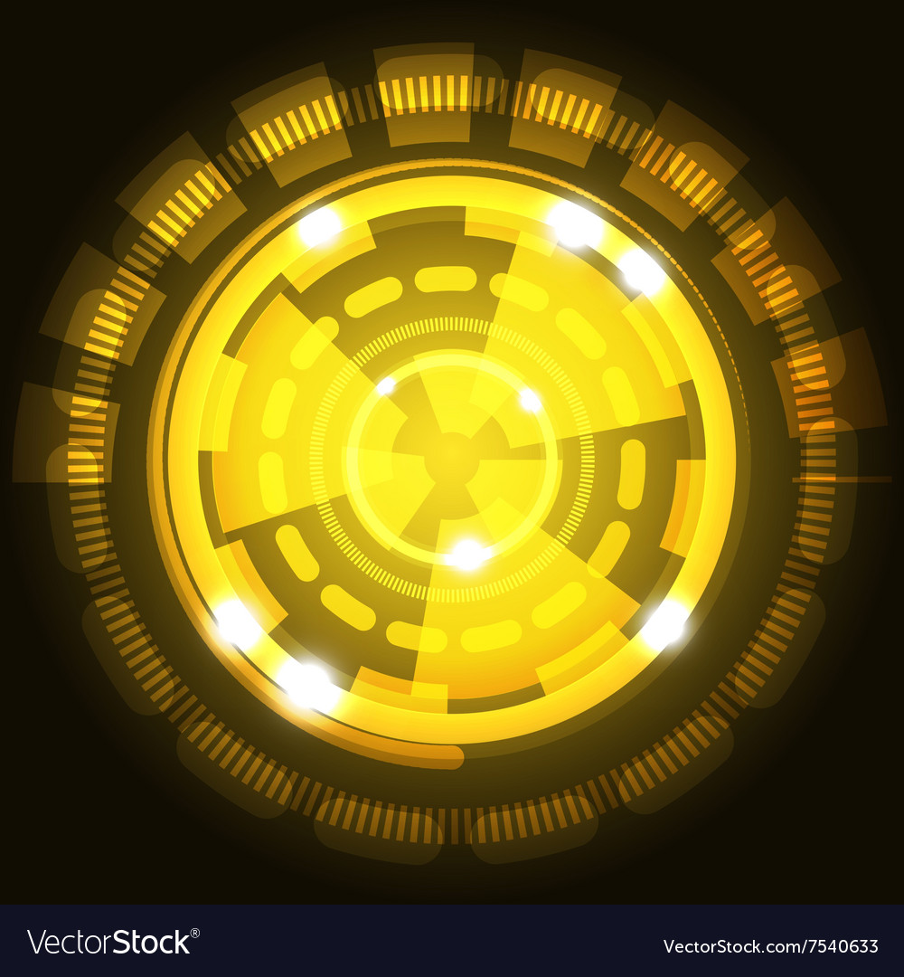 Abstract technology yellow background with circles vector image