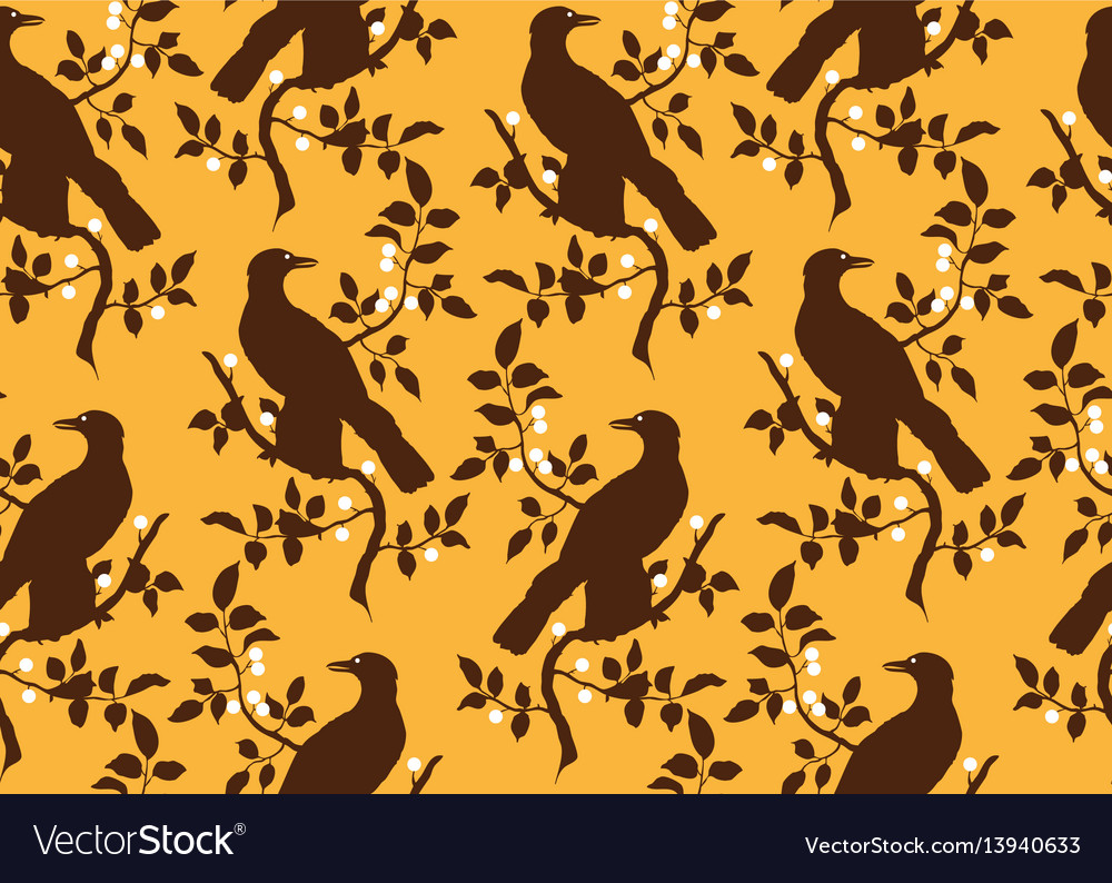Bird on branch seamless pattern