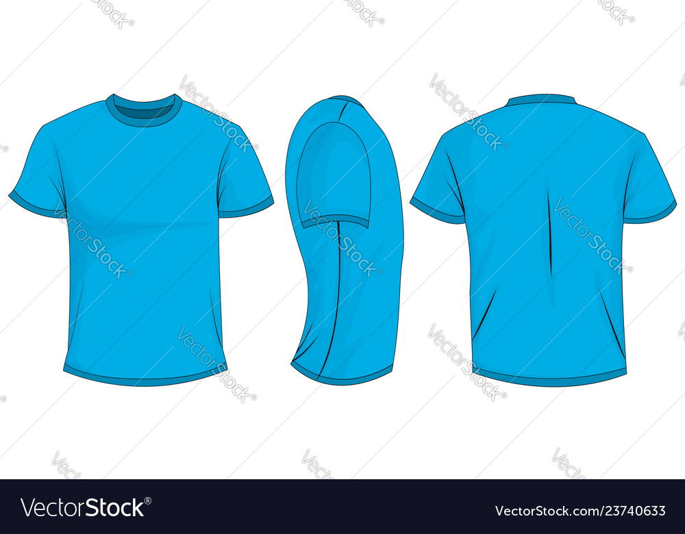 Blue T Shirt Template In Front Side And Back Views