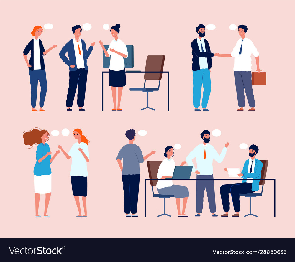 Business situation dialog between persons sitting
