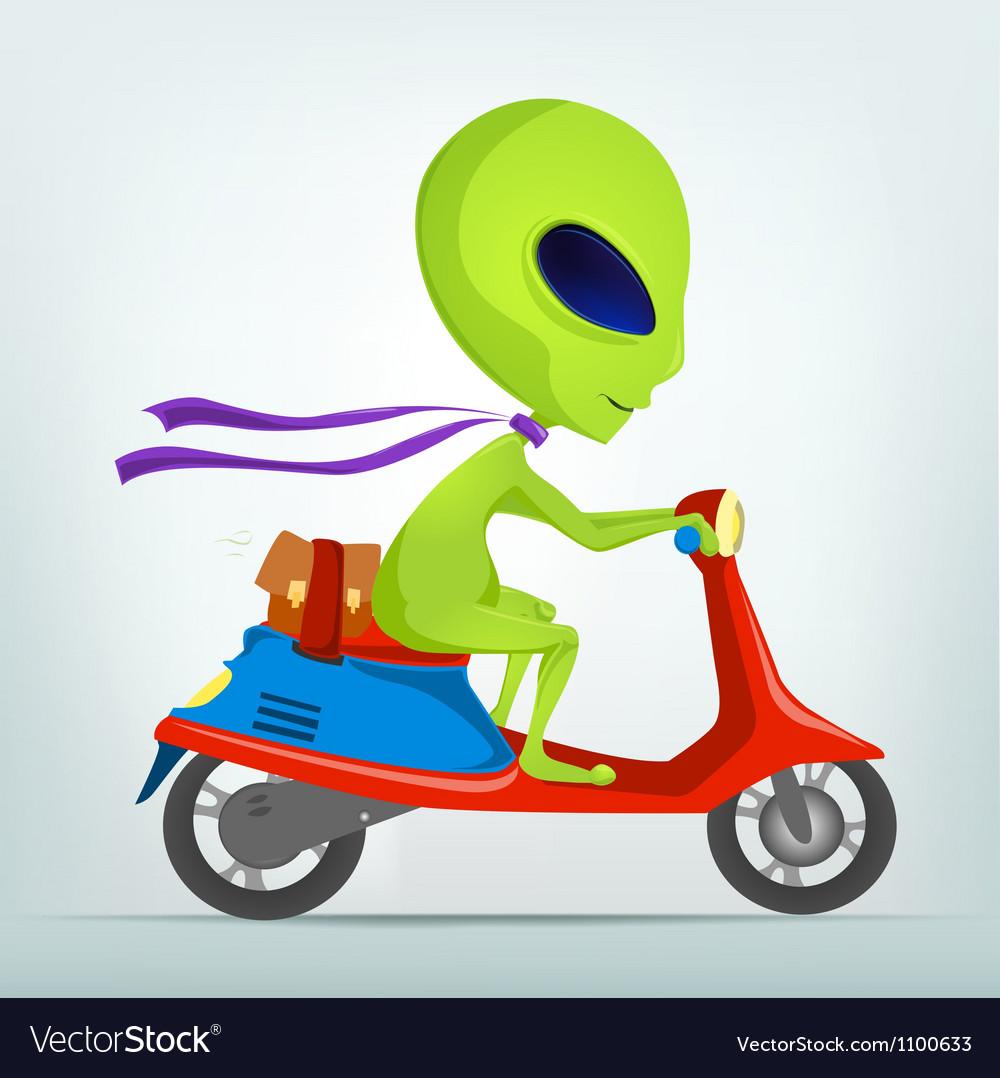 Cartoon Alien Scooter
