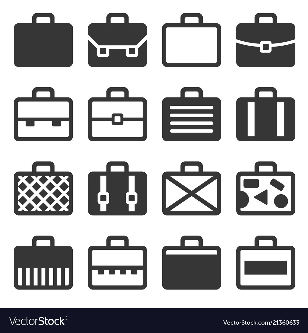 Case icons set on white background
