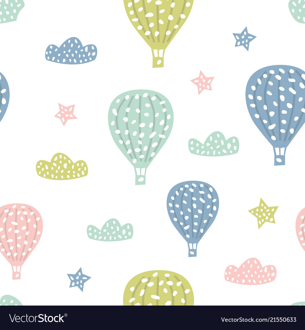 Childish seamless pattern with cute hot air
